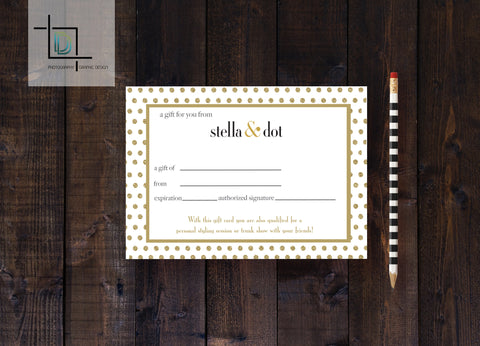 stella & dot PDF Gift Certificate - Independent Consultant Business Branding & Marketing - Stella Gold Dots Giftcard - digital detours