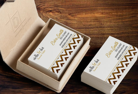 stella & dot Business Card Template - Independent Consultant Business Branding & Marketing - Stella Gold Foil Chevron Business card - digital detours