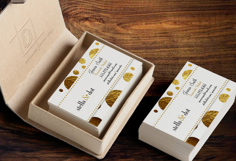 stella & dot Business Card Template - Independent Consultant Business Branding & Marketing - Stella Gold Foil Dots Business card - digital detours