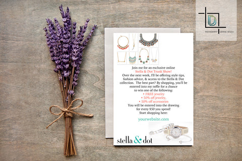 stella & dot PDF Party Invite - Independent Consultant Business Branding & Marketing - Stella White Watch Virtual Invite - digital detours