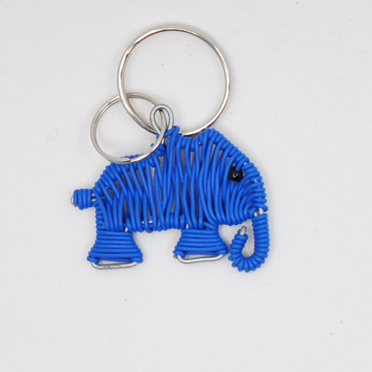 blue wire art elephant keychain. handmade in South Africa. percentage of sale donated back to conservation in Africa