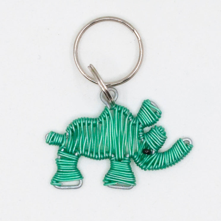 green wire art rhino keychain. handmade in South Africa