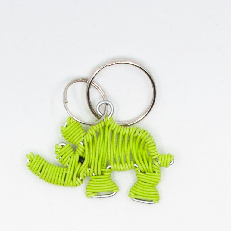 Lime Green Wire art Rhino keychain handmade in South Africa
