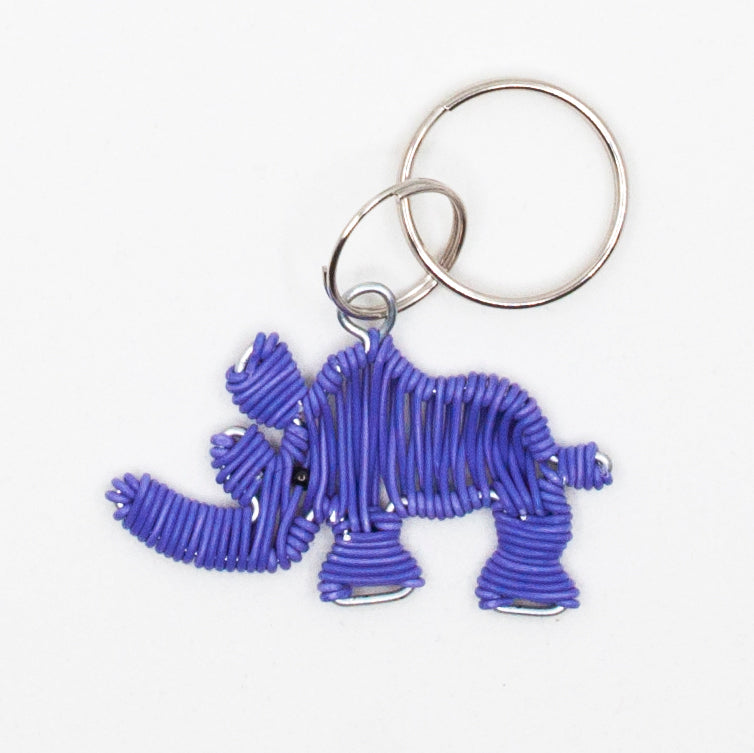 purple wire art rhino keychain. handmade in South Africa