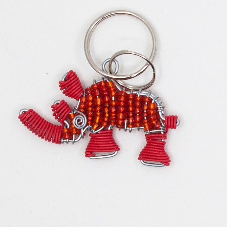red wire and bead rhino keychain. handmade in South Africa