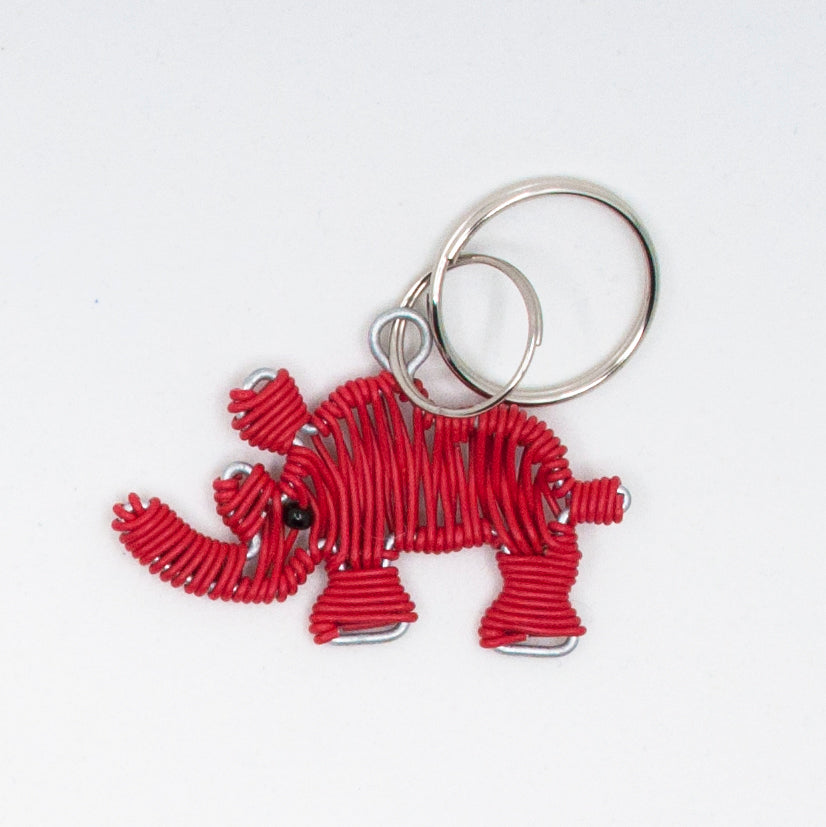 red wire art rhino keychain. handmade in South Africa