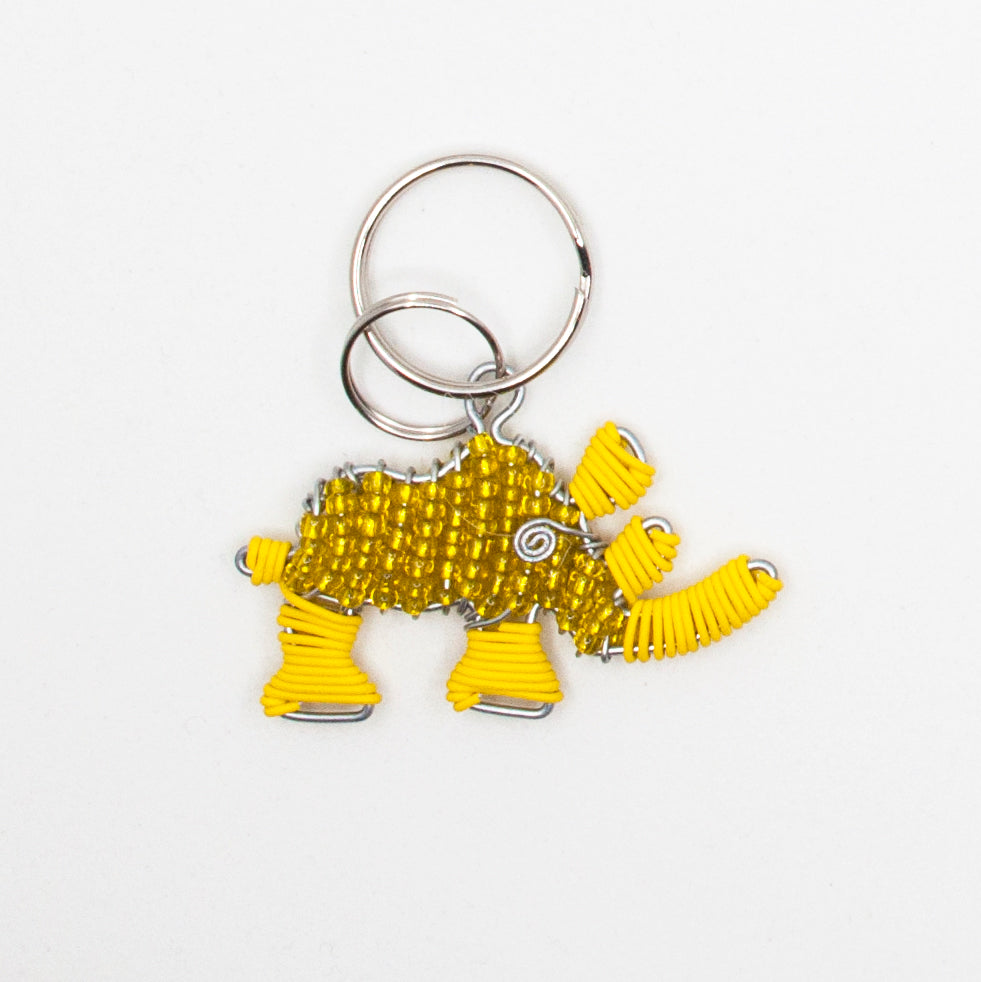 yellow wire and bead rhino keychain. handmade in South Africa. percentage of sale donated back to conservation in Africa