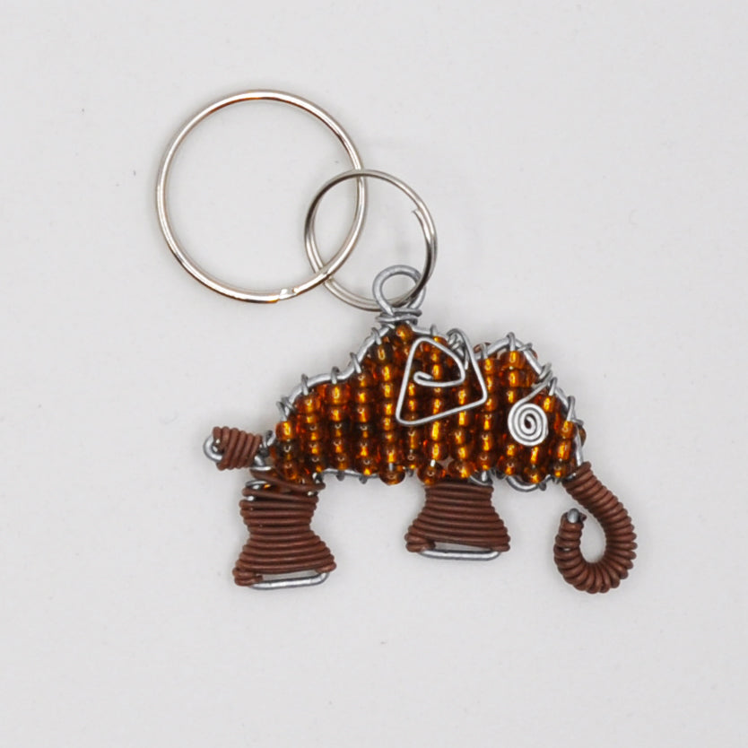 brown wire and bead elephant keychain. handmade in South Africa. percentage of sale donated back to conservation in Africa