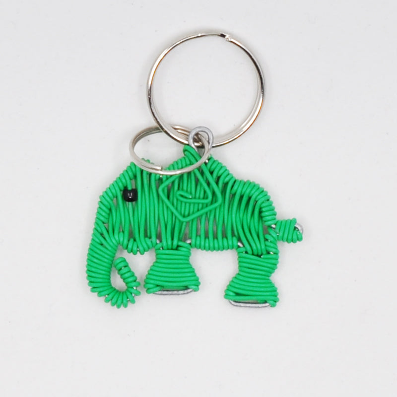 green wire art elephant keychain. handmade in South Africa. percentage of sale donated back to conservation in Africa