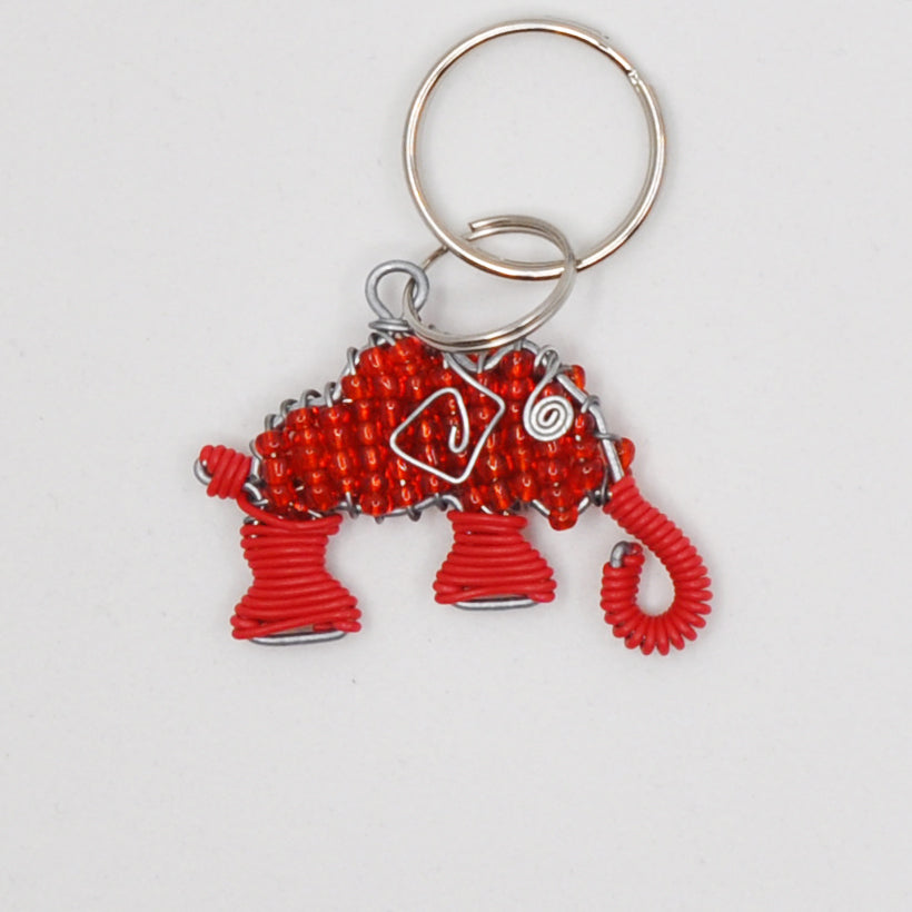 red wire and bead elephant keychain. handmade in South Africa. percentage of sale donated back to conservation in Africa