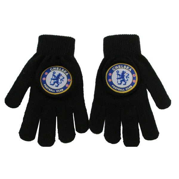 Chelsea FC  Adult Black Knitted Gloves