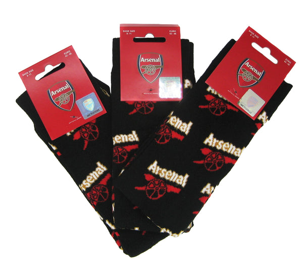 Arsenal FC 3 Pack All Over Print Adult Socks 8-11