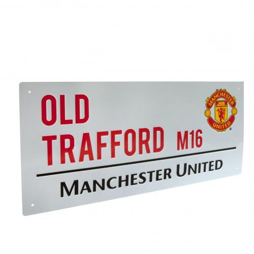 Manchester United FC  - Old Trafford White Street Sign