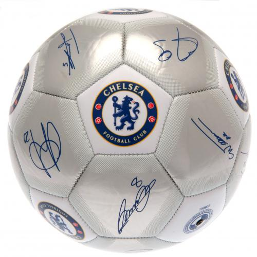 Chelsea FC Size 5 Silver Ball With Team Signatures