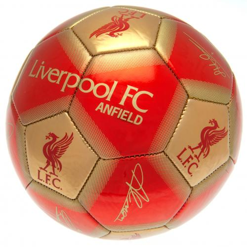 Liverpool FC Size 5 Ball With Team Signatures- Red/Gold