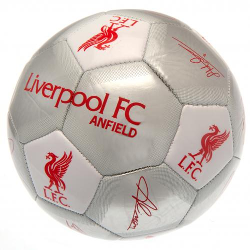 Liverpool FC  Silver Size 5 Ball With Team Signatures