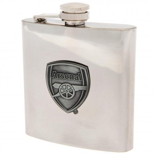 Arsenal FC Chrome Hip Flask In Gift Box