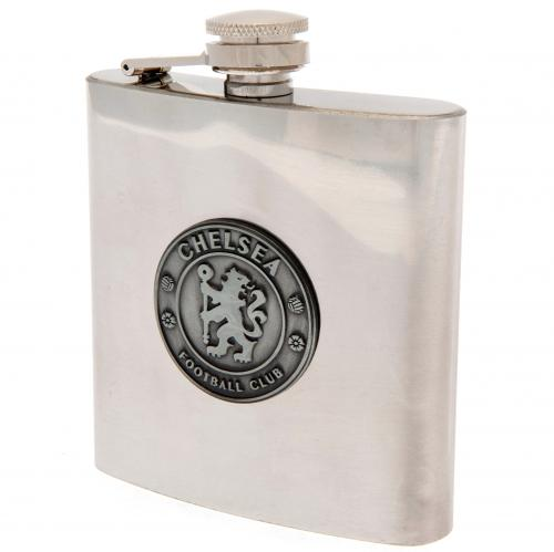 Chelsea FC Chrome Hip Flask In Gift Box