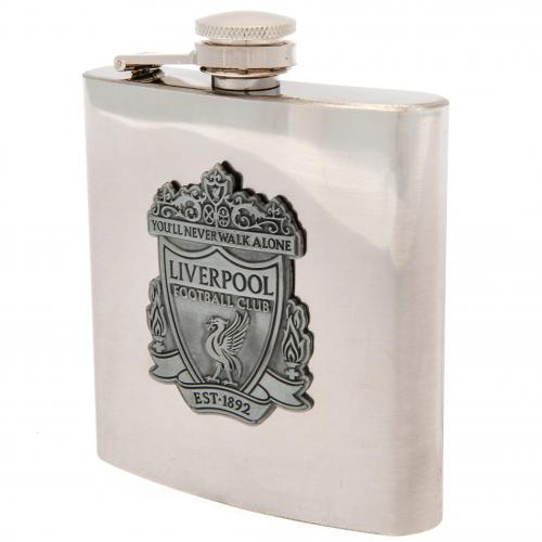 Liverpool FC  Chrome Hip Flask In Gift Box