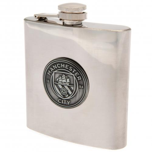 Manchester City FC Chrome Hip Flask In Gift Box