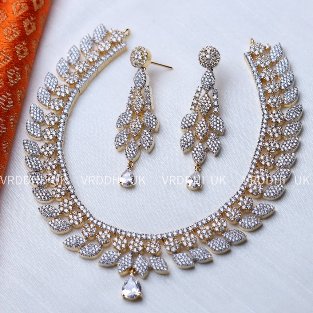 CZ STONE SHORT NECKLACE & EARRING 1427