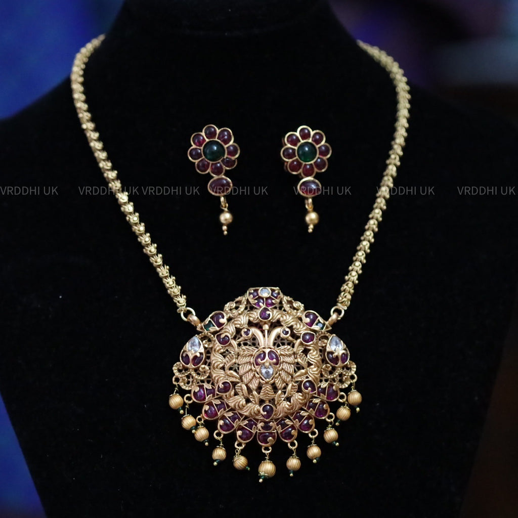 PENDANT CHAIN LONG  NECKLACE & EARRING 159