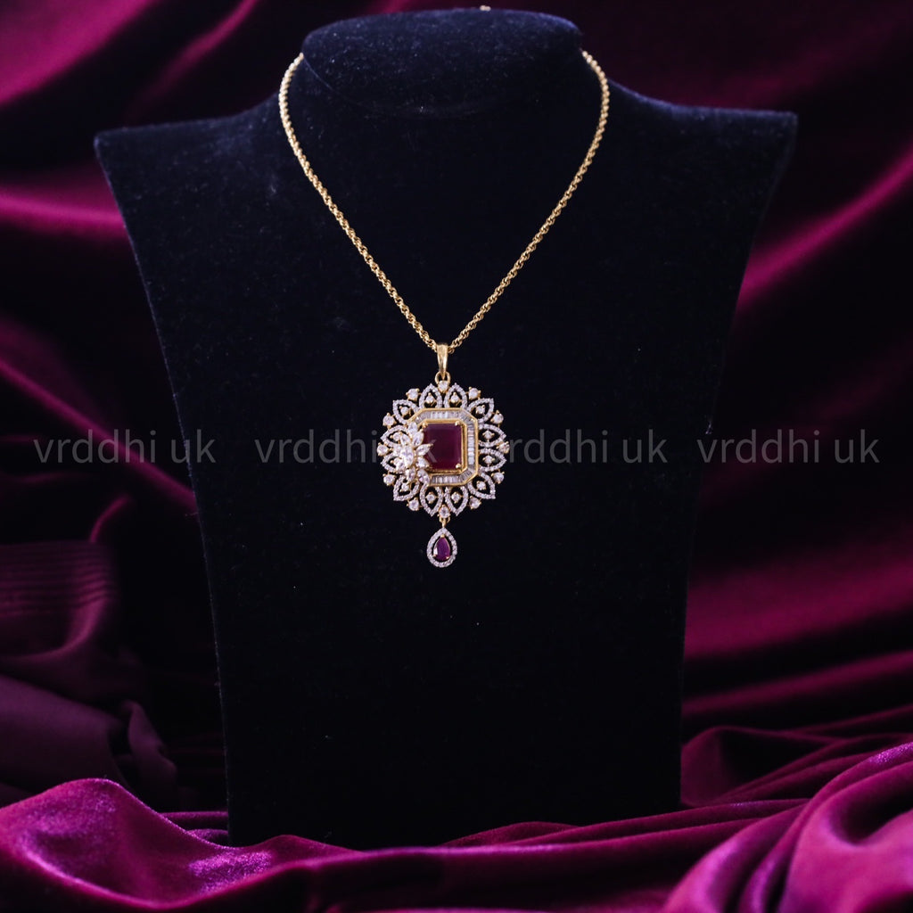 GOLD PLATED STONE PENDANT CHAIN 14561