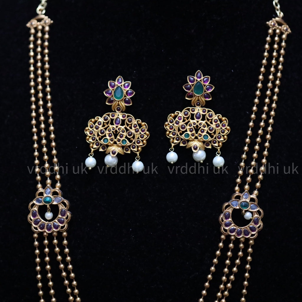 ANTIQUE  SIMPLE LONG NECKLACE & EARRING 13475