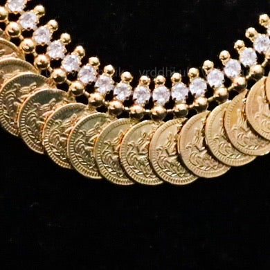 GOLD PLATED  KASUMALAI / COIN SHORT NECKLACE 4