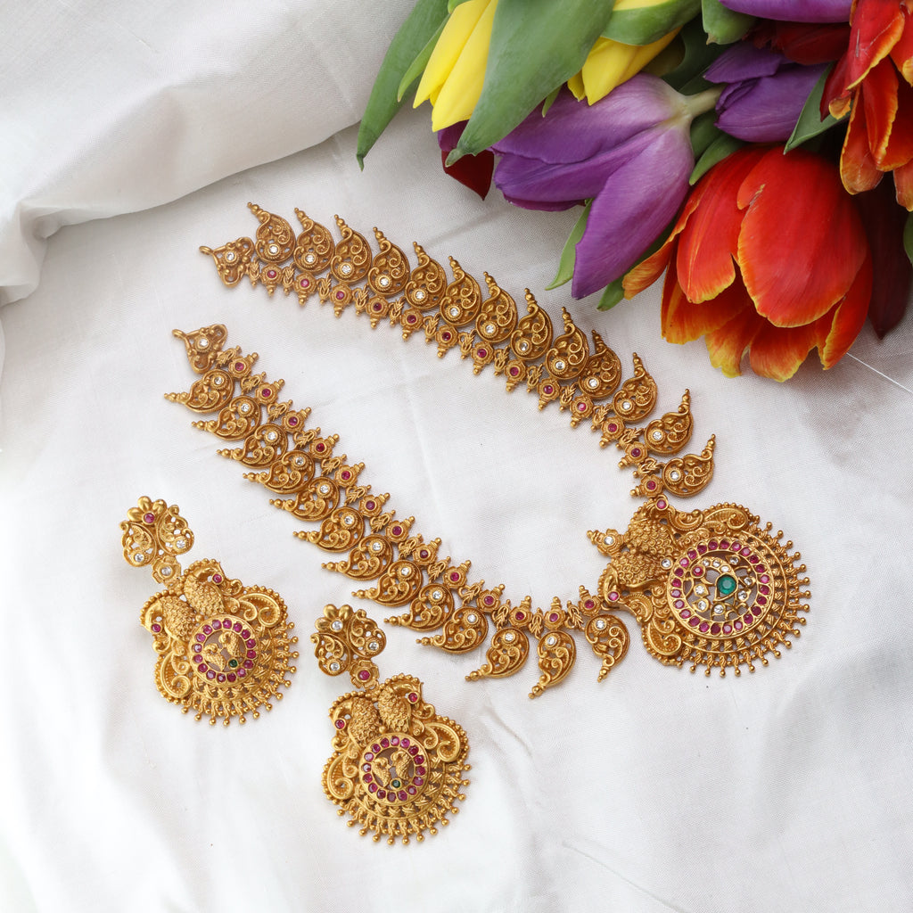 ANTIQUE SHORT NECKLACE & EARRING 15696