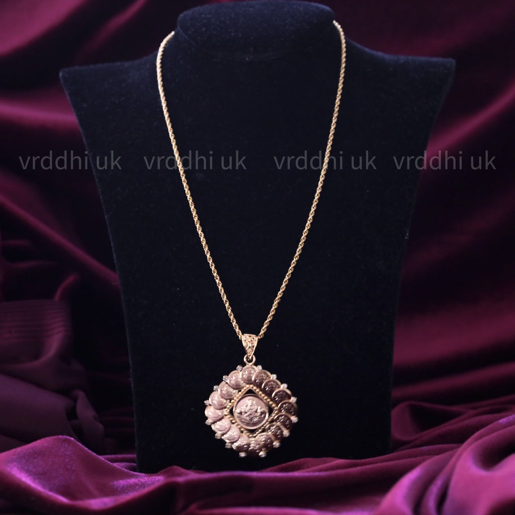 GOLD PLATED LAKSHMI COIN PENDANT CHAIN 14556