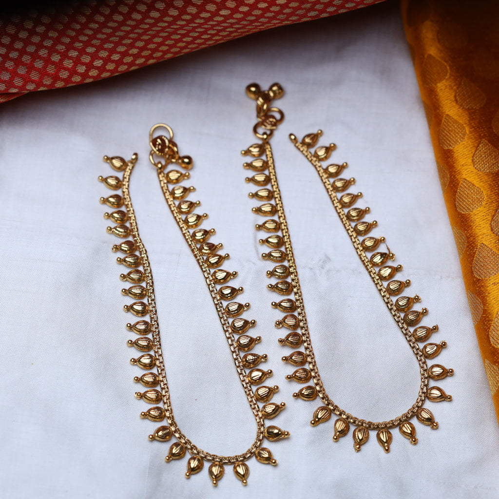 ANTIQUE TRADITIONAL ANKLETS / PAYAL 48 (STANDARD LENGTH)