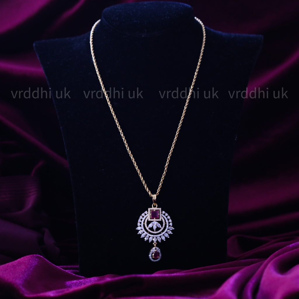 GOLD PLATED STONE PENDANT CHAIN 14560