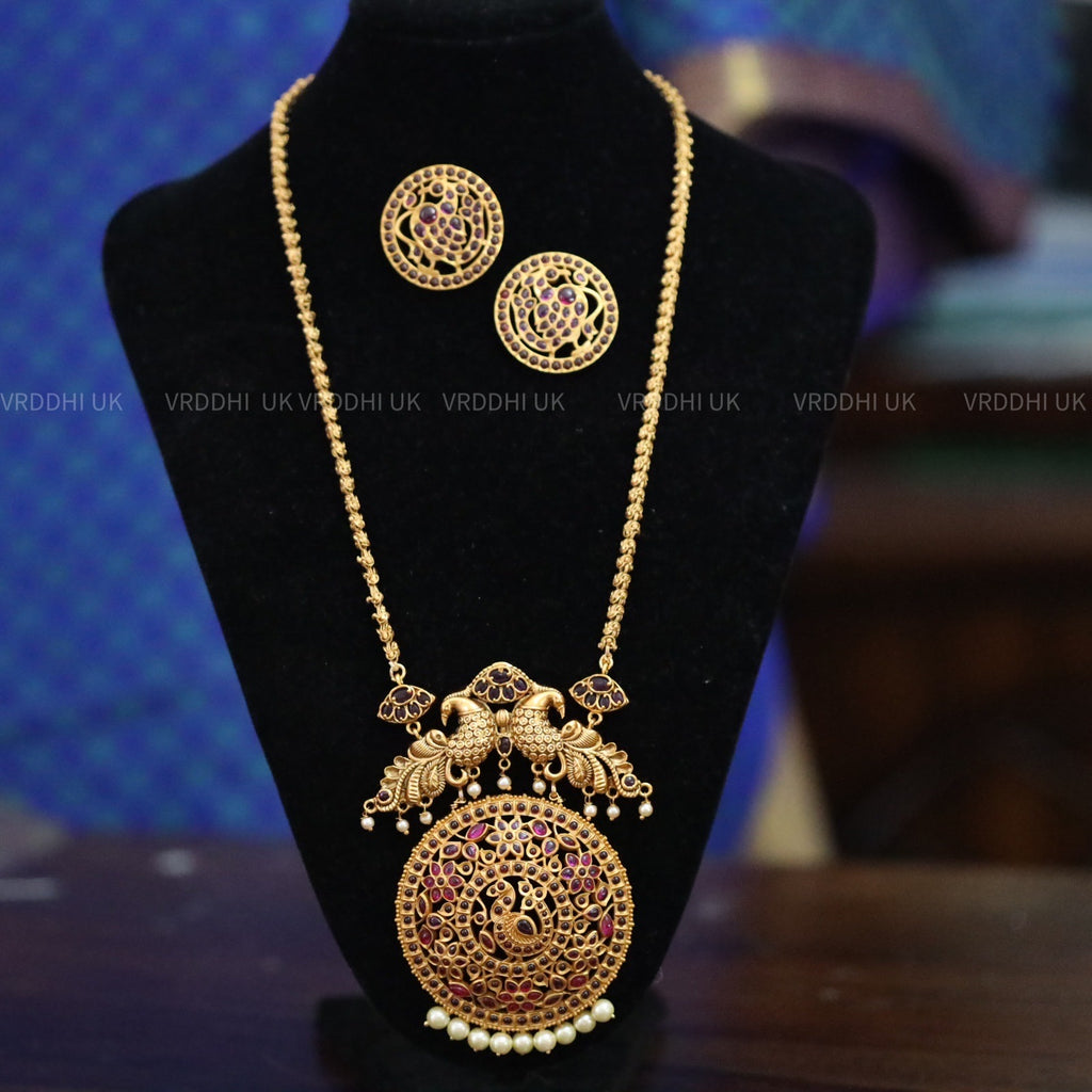 PENDANT CHAIN LONG  NECKLACE & EARRING 148