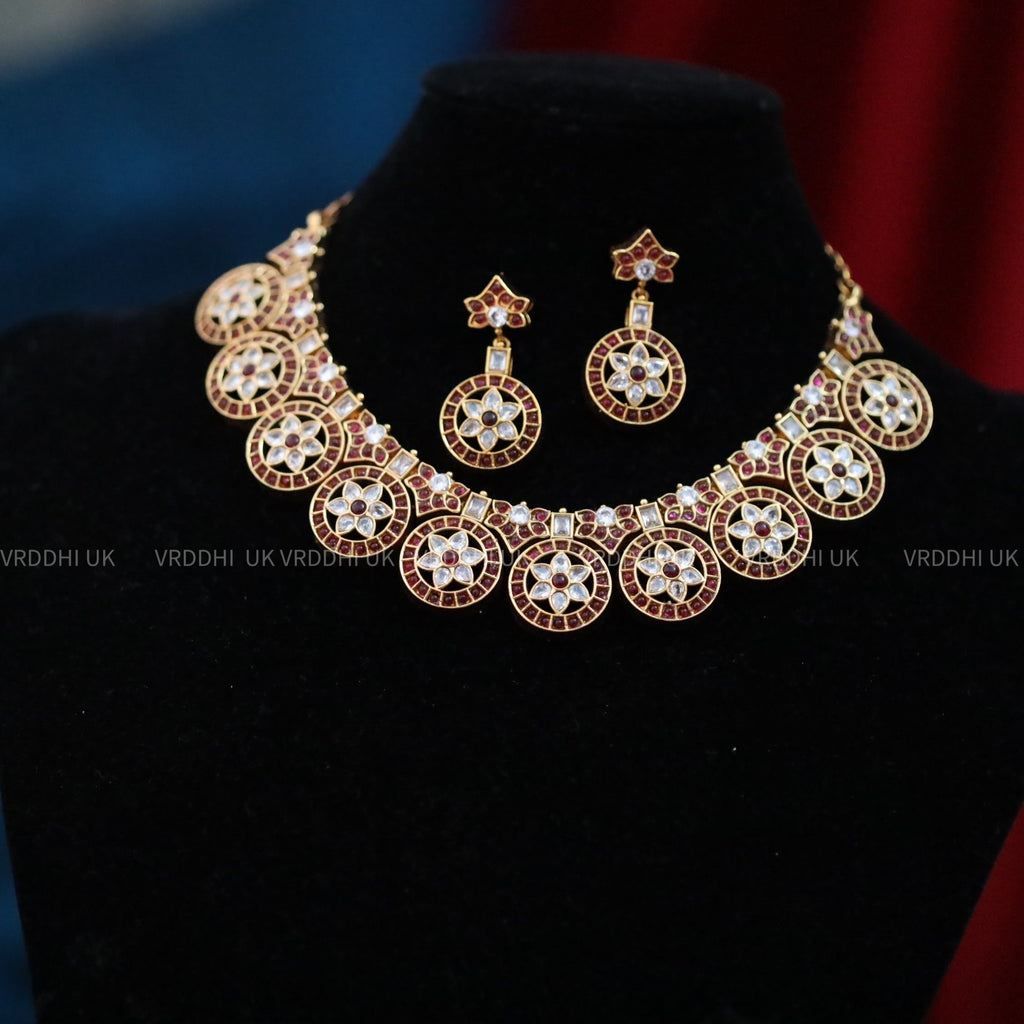 ANTIQUE SHORT NECKLACE & EARRING 13791