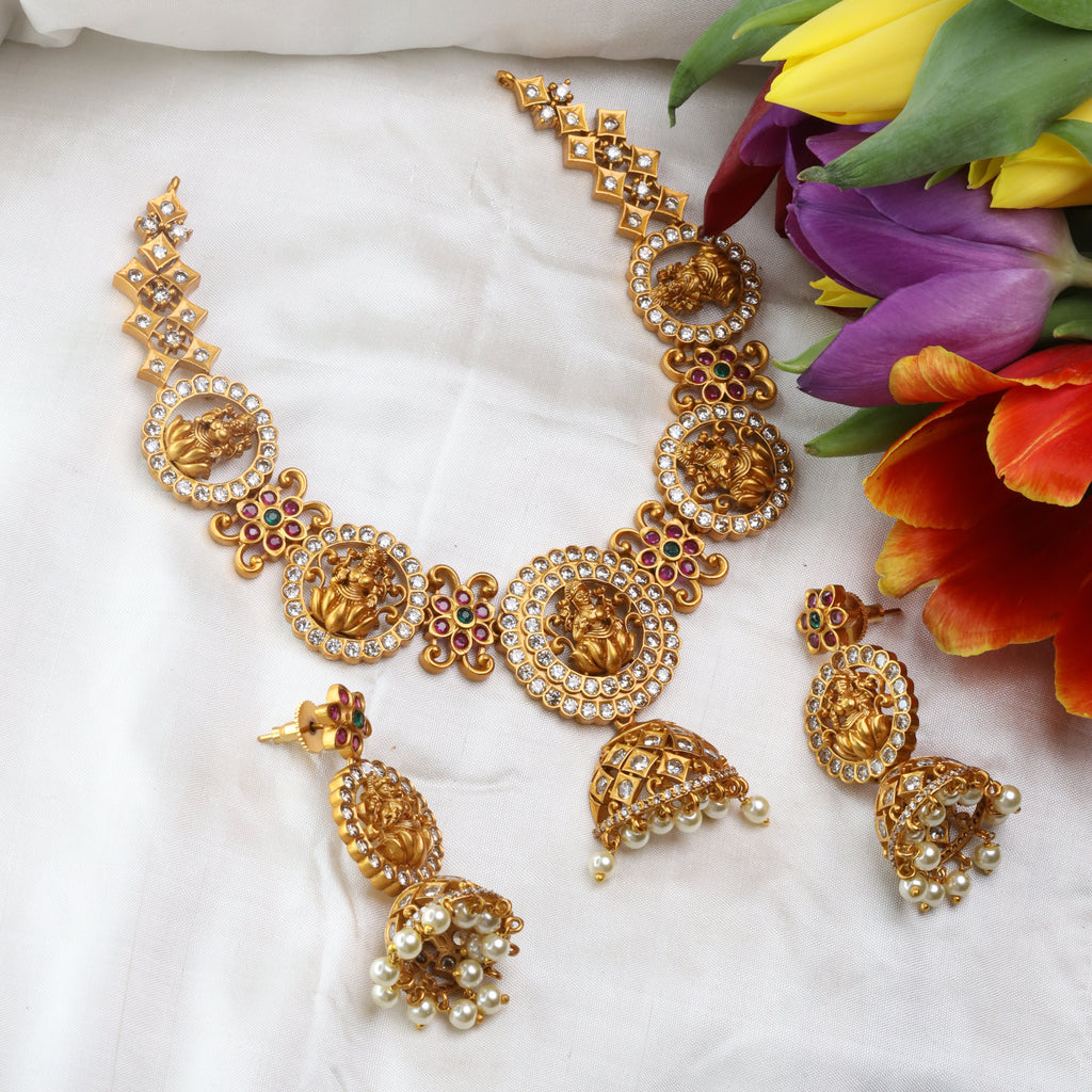 ANTIQUE SHORT NECKLACE & EARRING 15689