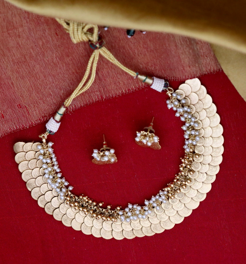 ANTIQUE  COIN SHORT  NECKLACE & EARRING 1371