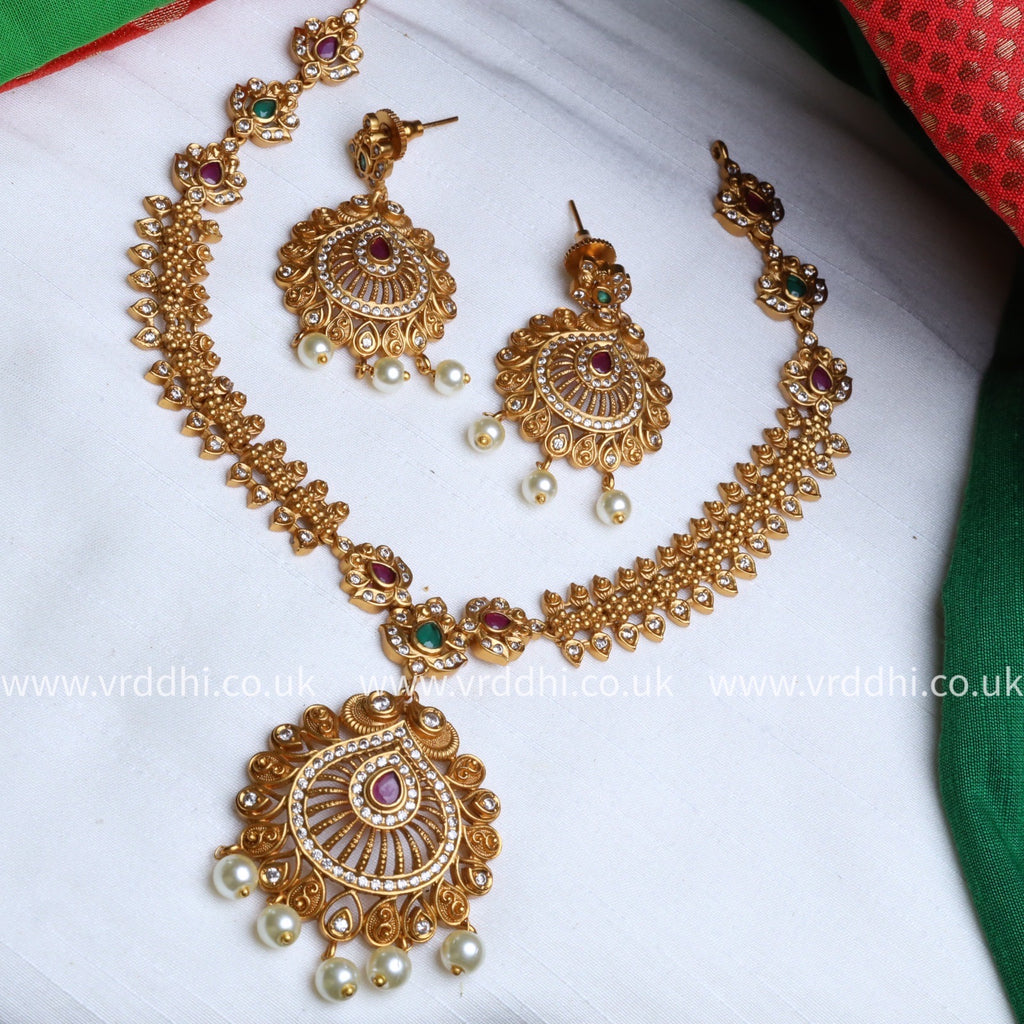 ANTIQUE  SHORT NECKLACE & EARRING 1430