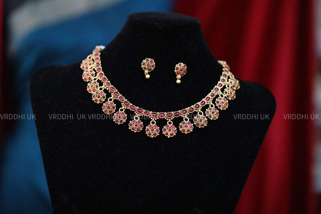 ANTIQUE SHORT NECKLACE & EARRING 13792