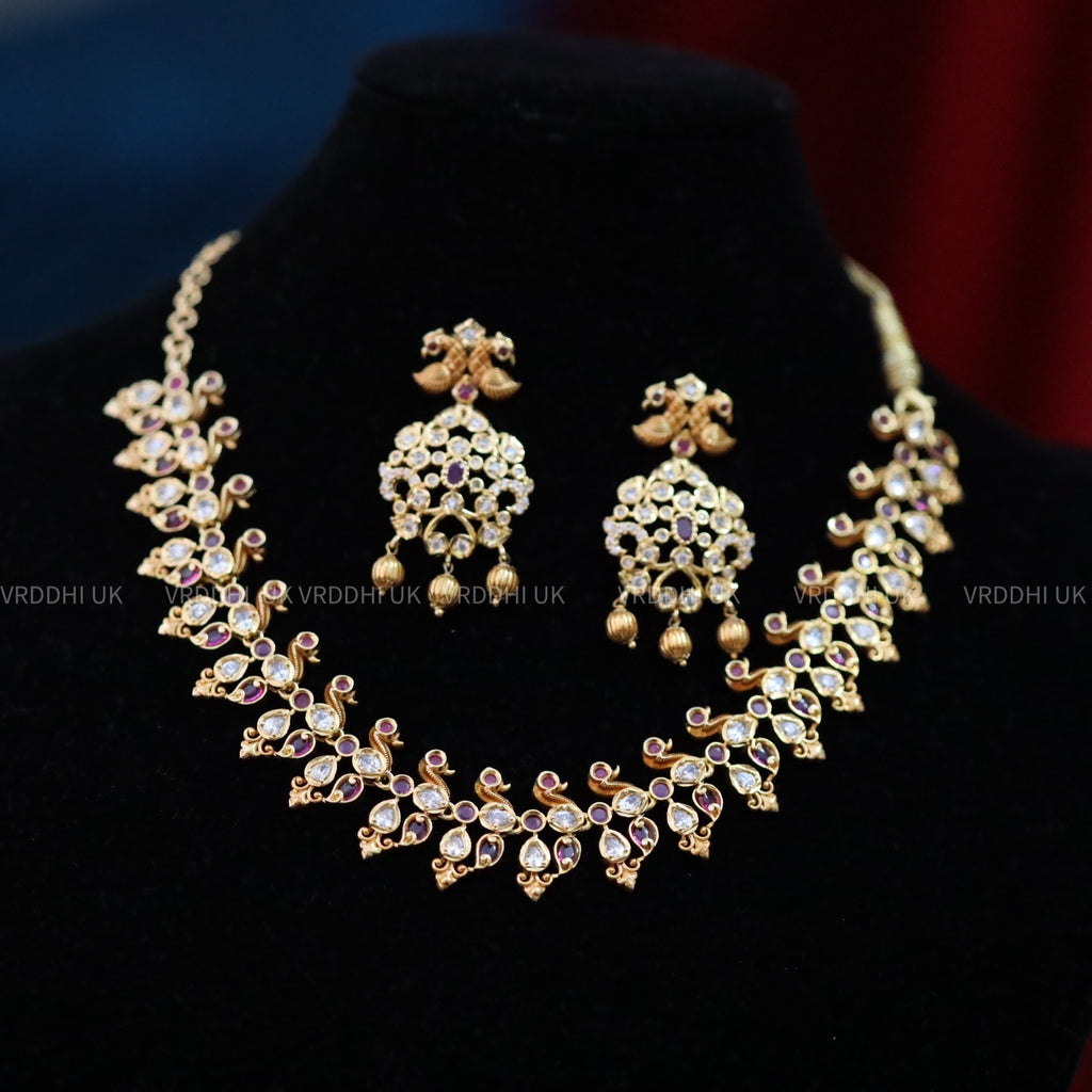 GOLD POLISHED SHORT  NECKLACE & EARRING 1398