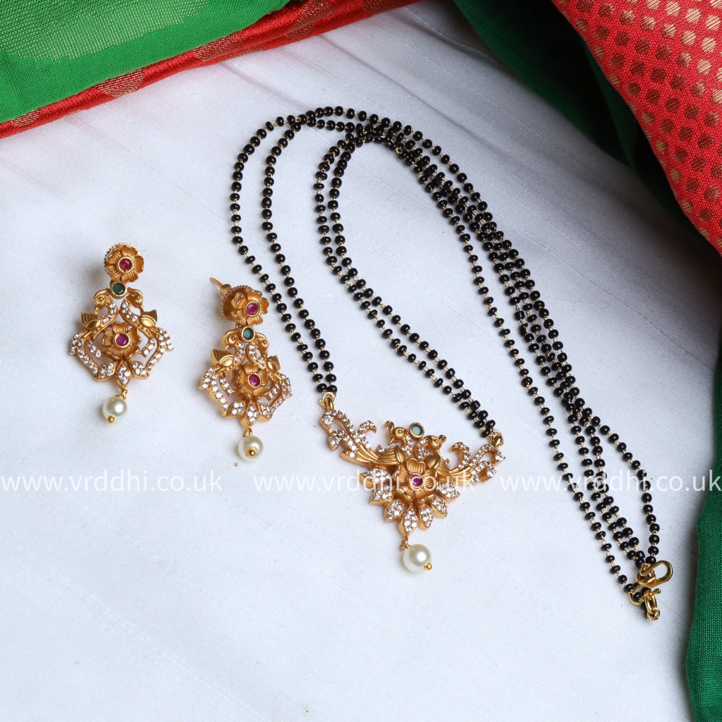 ANTIQUE  long NECKLACE & EARRING 1428