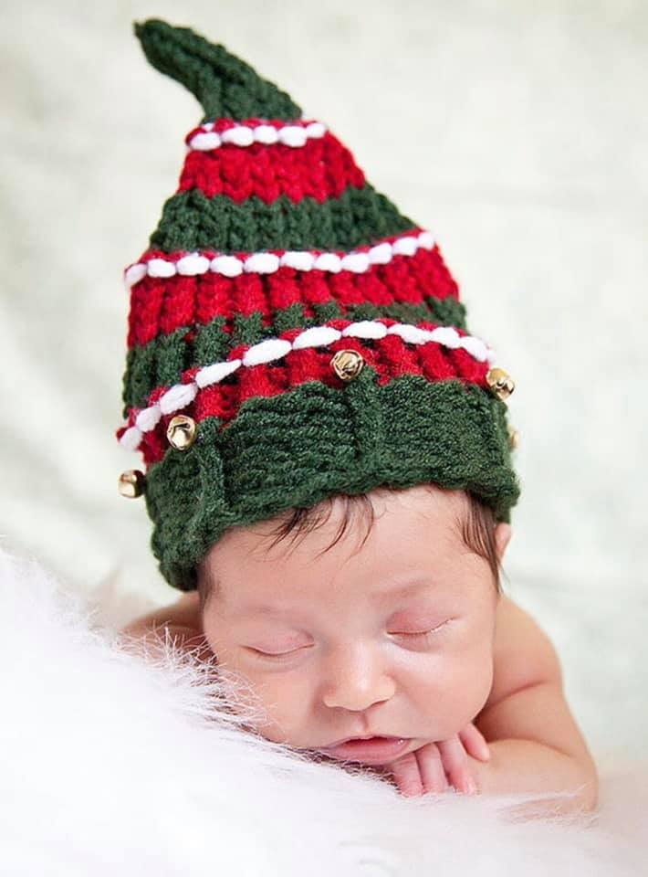 Baby Christmas Pixie Elf Hat Loom Knitting Pattern - Aerolynn Hat