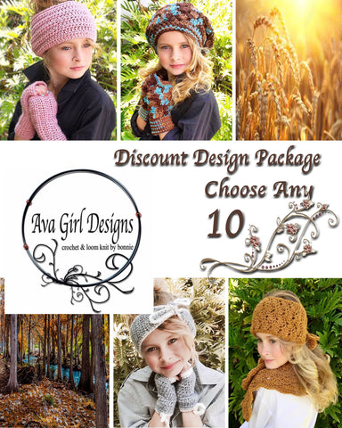 Ava Girl Designs Discount Package of any 10 Crochet or Loom Patterns 34a9164a2406