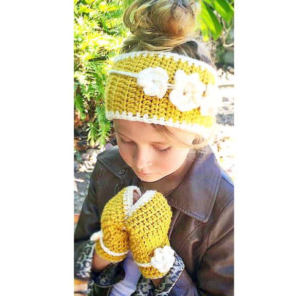 girls flower ear warmer hand warmer crochet pattern