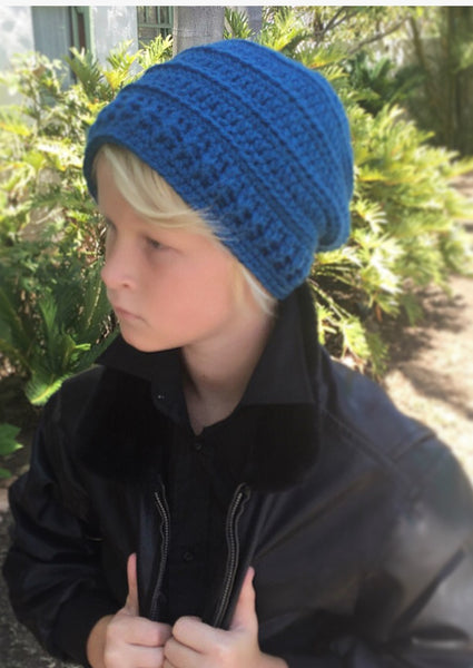boy's slouchy hat crochet pattern