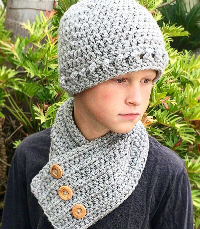 Hat Neck Warmer Crochet Pattern Grayson Set Ava Girl Designs