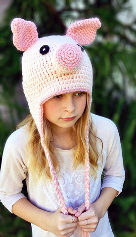 Piggy hat crochet pattern