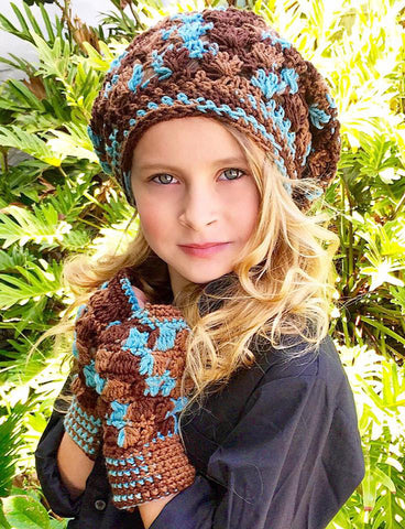 cluster stitch slouchy hat fingerless gloves crochet pattern