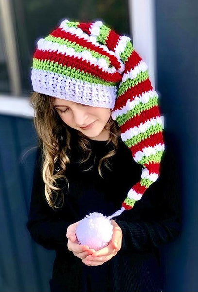 Striped Christmas Elf Hat Crochet Pattern