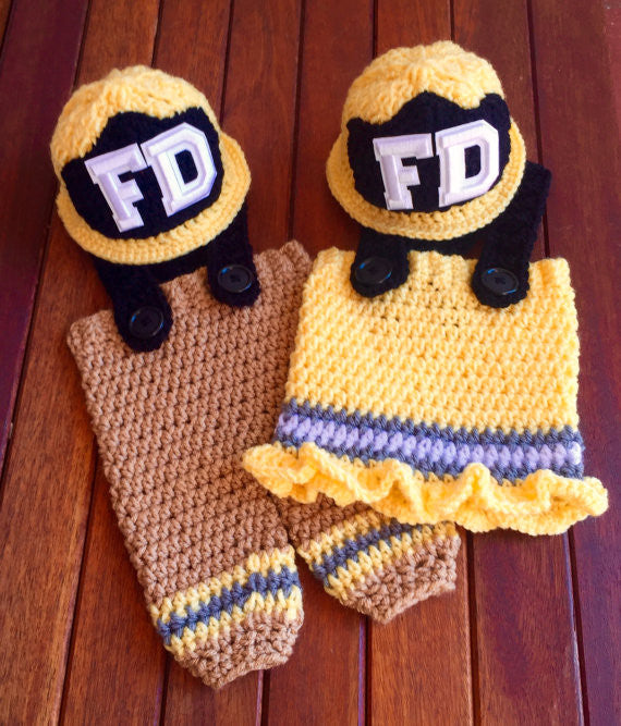 Baby Firemen Hat Pants Skirt Set Crochet Pattern Frankie Firemen